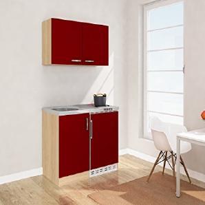 respekta Mini Küche Singleküche 100cm inkl. Oberschrank Eiche Sägerau Nachbildung Ceran Front rot MK 100 ESROSC