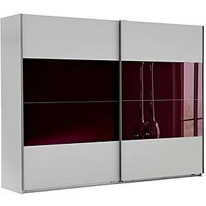 Wimex 507075 Schwebetürenschrank, 270 x 210 x 65 cm, alpinweiß / glas brombeere