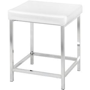 Badhocker Deluxe Square - Stahl / Kunststoff - Silber / Weiß, Wenko