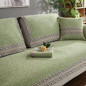Slipcover 1 stück leinen gestreift mehrzweck anti-rutsch staubdichte abdeckung stoff couch sofa handtuch sofabezug protector gesteppte multi-größe für wohnzimmer kissenhülle bestickt-Grün 70x180cm(28x71inch)
