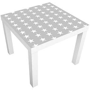 Bilderwelten Möbelfolie für IKEA Lack »Weiße Sterne auf grauen Hintergrund«