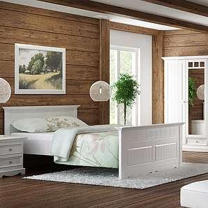 GRANADA Schlafzimmer Set Kiefer creme-weiß 180x200
