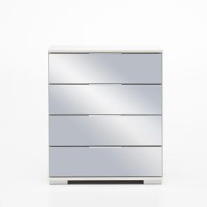 Nachtschrank in Alpinweiß mit Spiegelfronten und 4 Schubladen, Maße: B/H/T ca. 52/74/38 cm
