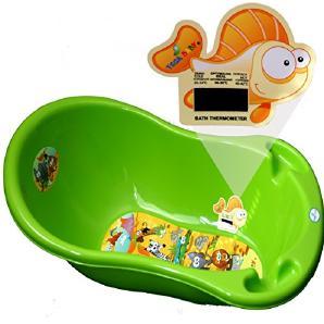 Baby Badewanne 4 Farben bitte auswählen super Design mit Thermometer 29 x 86 x 46 cm von DIES&DAS (Grün)