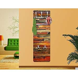 Apalis 67525 Wandgarderobe Bretterstapel Holz Vintage Brett Flur Haken Edelstahl Garderobe Holzbild Wandpaneel | 139x46cm