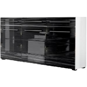 Sideboard Motley - Hochglanz Schwarz / Weiß, loftscape