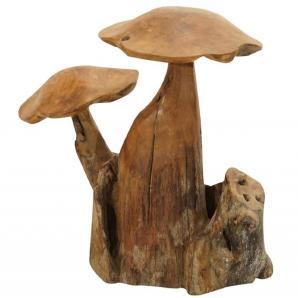 Ploß, Deko-Figur Pilze auf Wurzel, Teak natur, Unikat, wittterungsbeständig, pflegeleicht,