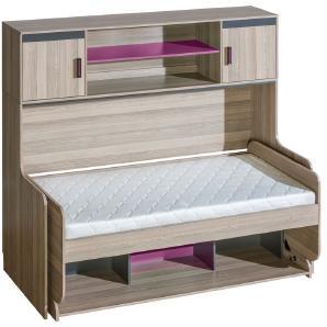 Kinderbett / Jugendbett mit Schreibtisch Funktion, Ablage und Aufsatz Marcel 19, Farbe: Esche Rosa / Grau / Braun - Liegefläche: 90 x 200 cm (B x L)