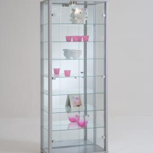 Vitrine / Sammlervitrine In Silber Nachbildung Mit 7 Einlegeböden Und Einem Led Spot Fif Möbel Optima Modern
