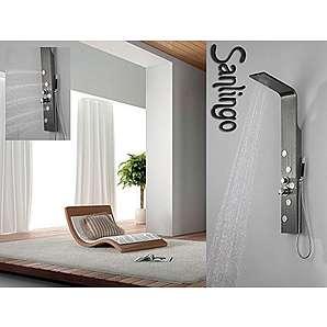 Duschpaneel aus Edelstahl mit Holzmaserung in grau Duschsäule mit 5 großen Massagedüsen von Sanlingo