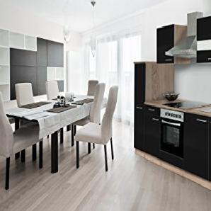 respekta Einbau Küche Küchenzeile 240cm Eiche Sägerau Schwarz Soft Close Ceran