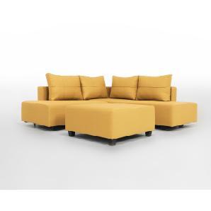 Gemini M - Kompaktes Ecksofa mit Schlaffunktion für 2 Erwachsen, gelb, moderner Webstoff
