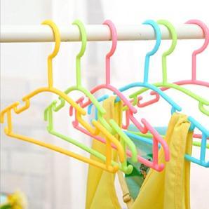 KKLL Kleiderbügel Kind Kunststoff kleine Aufhänger Candy Farben hochwertige kleine Wäscheständer (Packung mit 10) , yellow , 28*16.5cm