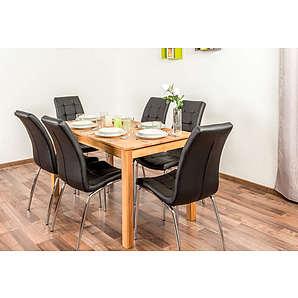 Wooden Nature Esstisch-Set 372 inkl. 6 Stühle (schwarz), Buche massiv - 135 x 75 (L x B)