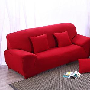 INMOZATA 3-Sitzer Sessel Sofaschoner Stretch Elastik Gewebe Sesselschutz Sofa-überwurf Waschbar leicht angepasst (Weinrot)