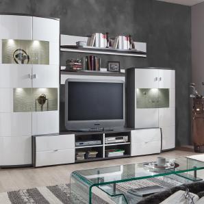 Anbauwand, 5-tlg., in grau und Hochglanz weiß, 2 Vitrinen, 2 Wandpaneele, 1 TV-Unterteil, Maße: B/H/T ca. 310/193/43-53 cm