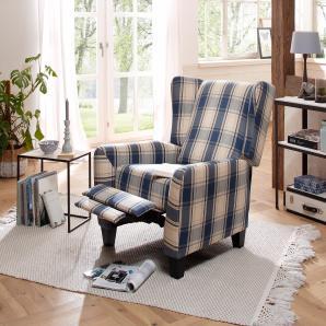 Home affaire Relax-/Ohrensessel mit verstellbarer Rückenlehne und ausfahrbarer Fußstütze, blau, B/H/T: 84x45x57cm »Alessa«, FSC®-zertifiziert