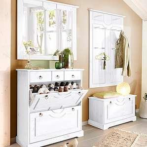 Home affaire Kiefer Garderoben-Set (4-tlg.) »Klera«, weiß, Landhaus Stil, FSC®-zertifiziert