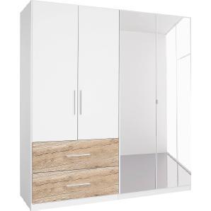 Rauch Kleiderschrank, T/H 54/197 cm, mit 2 geräumigen Schubkästen, beige, Breite 181 cm, mit Spiegel, mit Spiegeltüren
