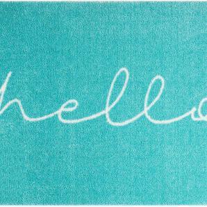 Fußmatte Statement Hello - Kunstfaser - Blau, loftscape