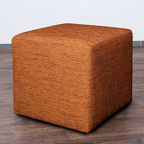 Möbelbär 8009-16 Sitz-würfel / -hocker 45 x 45 x 45 cm, bezogen mit robustem Magma Webstoff, orange / terra