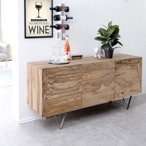Designer-Sideboard Wyatt 175 cm Sheesham Natur 3 Türen Edelstahl, Sideboards
