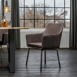Stuhl Cali Sessel Stoff Esszimmerstuhl dunkelgrau Füße Edelstahl