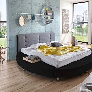 SAM® Design Rundbett Bastia, Bett in schwarz / grau, Kopfteil abgesteppt, mit Chromfüßen, auch als Wasserbett verwendbar, 180 x 200 cm