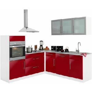 Winkelküche »Aachen« mit E-Geräten, Stellbreite 210x220 cm mit Stangengriffen aus Metall