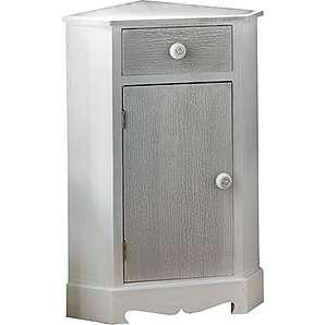 Eck-Schrank Kiefer massiv, weiß, 1 Tür, grau gebleicht