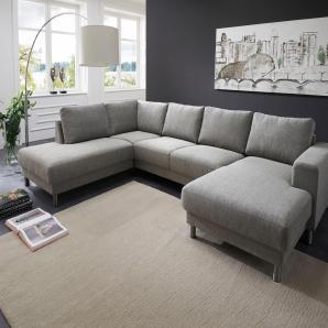 Atlantic Home Collection Wohnlandschaft, grau, Recamiere rechts, B/H/T: 301x42x54cm, hoher Sitzkomfort