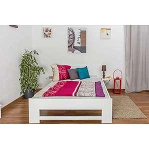 Tagesbett / Gästebett Buche massiv Vollholz weiß lackiert 110, inkl. Lattenrost - Abmessung 140 x 200 cm