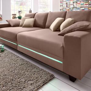 Big-Sofa braun, Mit RGB-LED-Beleuchtung, Energieeffizienzklasse: A, FSC®-zertifiziert, inklusive loser Zier- und Rückenkissen, braun