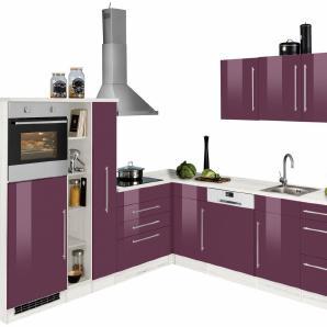 HELD MÖBEL Winkelküche mit E-Geräten »Samos«, Stellbreite 260/270 cm mit Stangengriffen aus Metall