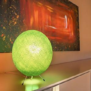 Handgearbeitete Kugellampe aus Baumwolle - LED Kugelleuchte in grün, Lampe innen