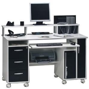 Computertisch Loel - Weiß/Schwarz Dekor, Maja Möbel