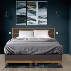 Home affaire Boxspringbett H2, braun, 200/200cm, Massivholz, Kunstleder »Natura«, H3/Bonnell/Taschen-Federkern, FSC®-zertifiziert