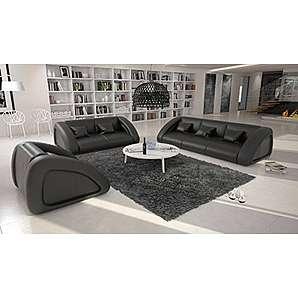 2-Sitzer Sofa mit Kunstleder Bezug schwarz 195x105 cm   Sanassi   Design Couch-Garnitur 2-Sitzer schwarz 195cm x 105cm