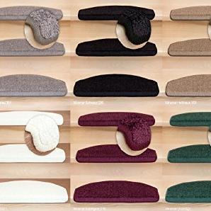Stufenmatten Vorwerk Miramar, Luxuriöser Treppen-Teppich Halbrund in versch. Farben und Stückzahlen | Hellgrau 15 Stück