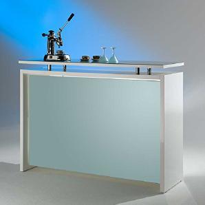 MS Schuon - Klenk Collection: Starlight Theke, Hochglanz in Silber-Weiß mit Glasplatte - Theke für Ihren Empfangsbereich