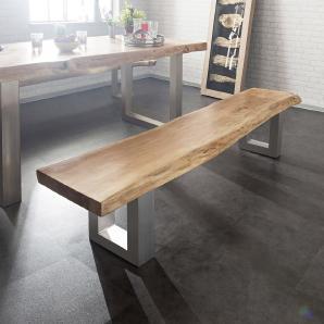 Sitzbank Live-Edge 135x40 Akazie Gebleicht Gestell breit, Bänke, Baumkantenmöbel, Massivholzmöbel, Massivholz, Baumkante, Wolf Live Edge