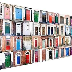 Bilderwelten Forex Fine Art Print Panorama Quer »100 Türen«