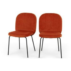 2 x Safia Esszimmerstühle, Samt in Retro-Orange