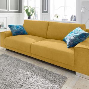 Big-Sofa gelb, Bigsofa, FSC®-zertifiziert, inklusive loser Zier- und Rückenkissen, gelb