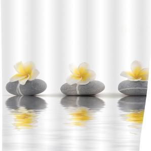 Duschvorhang Stones Flower - Kunstfaser - Creme / Grau, Wenko