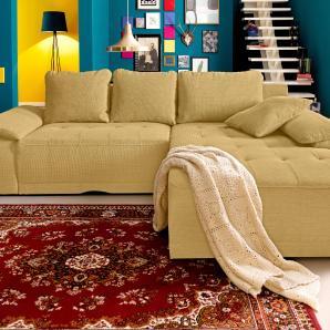 sit&more Ecksofa gelb, Recamiere rechts, XXL - Mit Bettfunktion, FSC®-zertifiziert