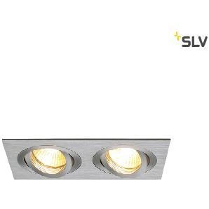 SLV New Tria Einbauleuchte, 2-flg., Aluminium gebürstet