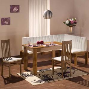 Küchen-Sitzecke in Weiß Nussbaumfarben (4-teilig)