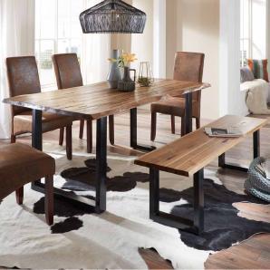 Esszimmer Sitzgruppe mit Baumkantentisch und Bank Loft Design (2-teilig)