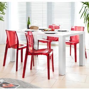 Esstisch-Gruppe weiß Hochglanz 120x80 cm recht-eckig mit 4 Sari Design Stühlen | Luca | Essgruppe weiss mit 4 rottransparenten Stühlen | Designer Tischgruppe mit Ess-Tisch weiß lackiert 120cm x 80cm 5 tlg.